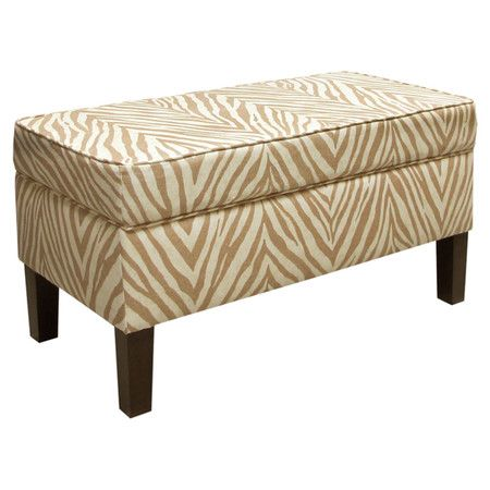 Pine Wood Storage Ottoman With Zebra Print Upholstery And A Hinged Top Handmade In The Usa Product St Upholstered Storage Bench Upholstered Storage Furniture