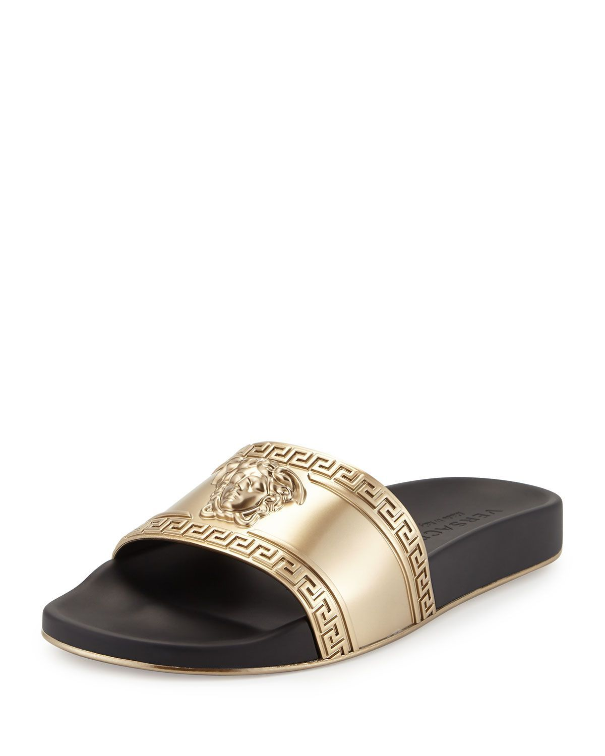 de50762ae7d833 Metallic Medusa-Head Slide Sandal