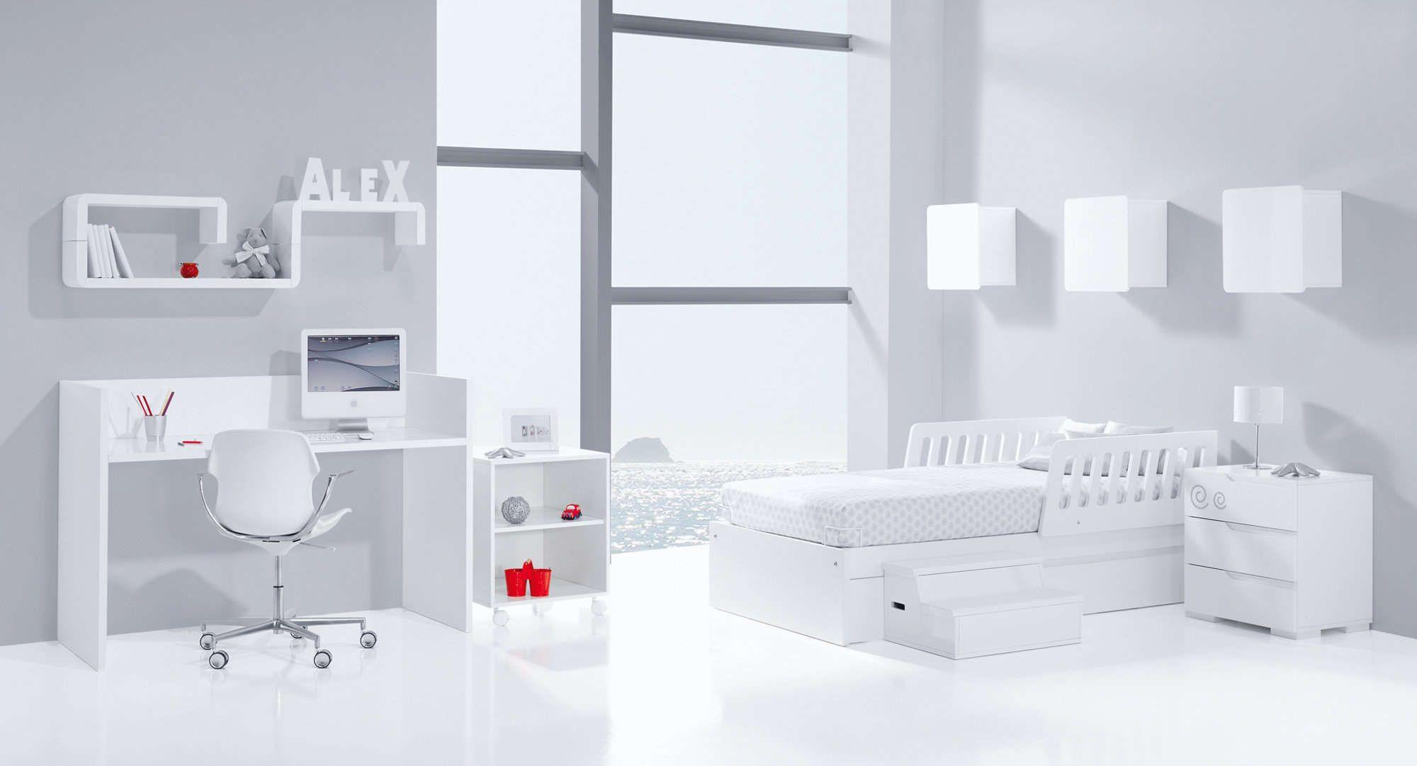 Colecci n zero evolutive alondra habitaci n infantil completamente blanca cama junior mesita for Escritorio infantil