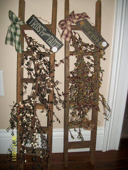 prim ladders elsa pinterest leiter dekorieren und. Black Bedroom Furniture Sets. Home Design Ideas