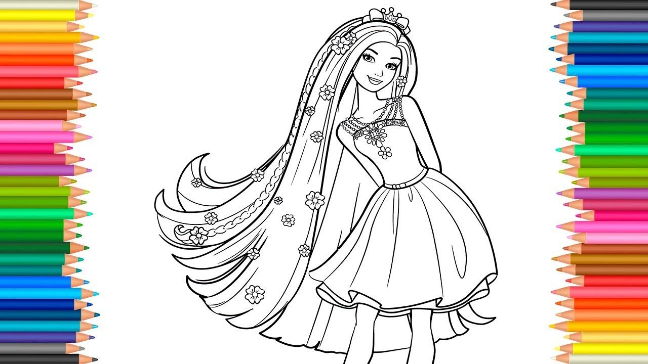 Barbie Fashion Coloring Pages 2 Coloring Book Video For Children Learn