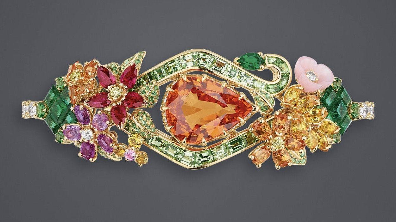 "DIOR. ""Spessartite Garnet Orangery"" bracelet in yellow and pink gold, diamonds, spessartite garnets, emeralds, tsavorite garnets, pink and yellow sapphires, rubies, pink opal and yellow diamonds #DIOR #DIORÀVersaillesCôtéJardins #DIORJewellery #HighJewelry #FineJewellery #HauteJoaillerie"