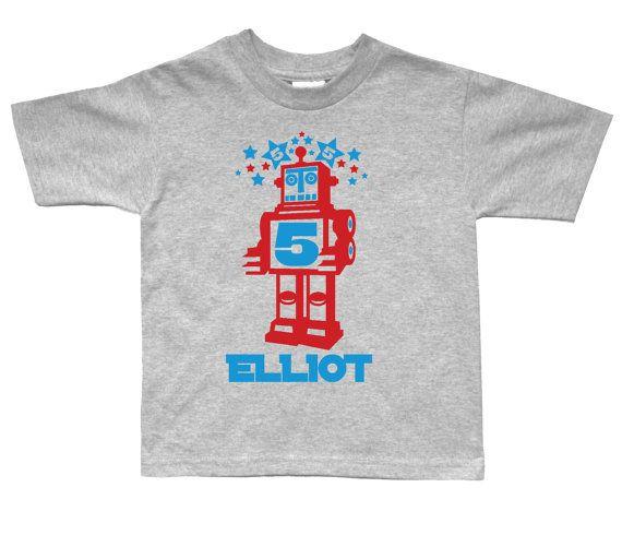 Robot Birthday Shirt Personalized for kids  Retro by FreshFrogTees, $15.95