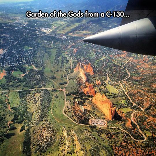 Garden Of The Gods as seen from above. @emmiebecker ! This is your backyard now! Well, close anyways.