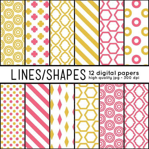 Repeatable patterns download: Geometric SHAPES 12 Digital Papers pattern set by arrowisp #modern #retro #yellow #gold #pink