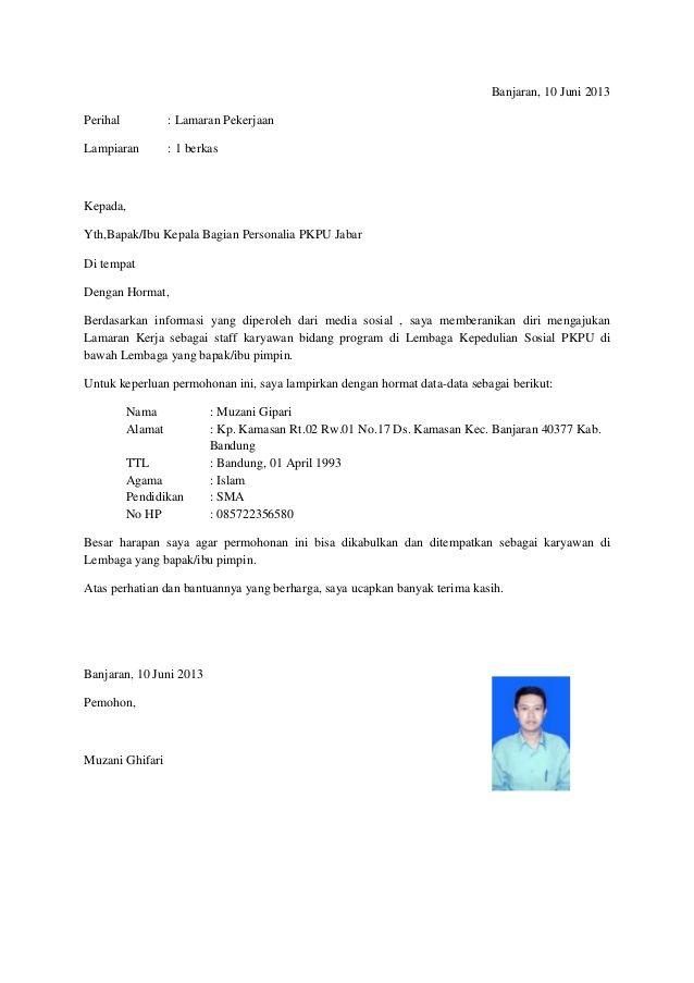 Surat Lamaran Kerja Non Formal Ben Jobs Contoh Lamaran Kerja Dan