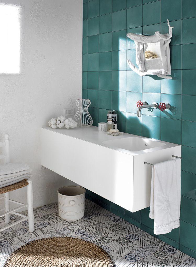 Design Handwaschbecken Badezimmer Modern Keramikfliesen Türkis Weiss # Badezimmer #bathroom #ideas