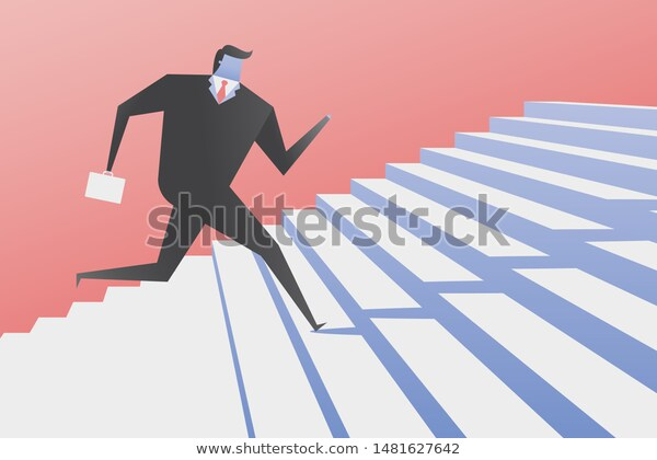 Businessman Run Stairs Growth Business Concept Stock Vector Royalty Free 1481627642 Business Illustration Business Man Stock Vector