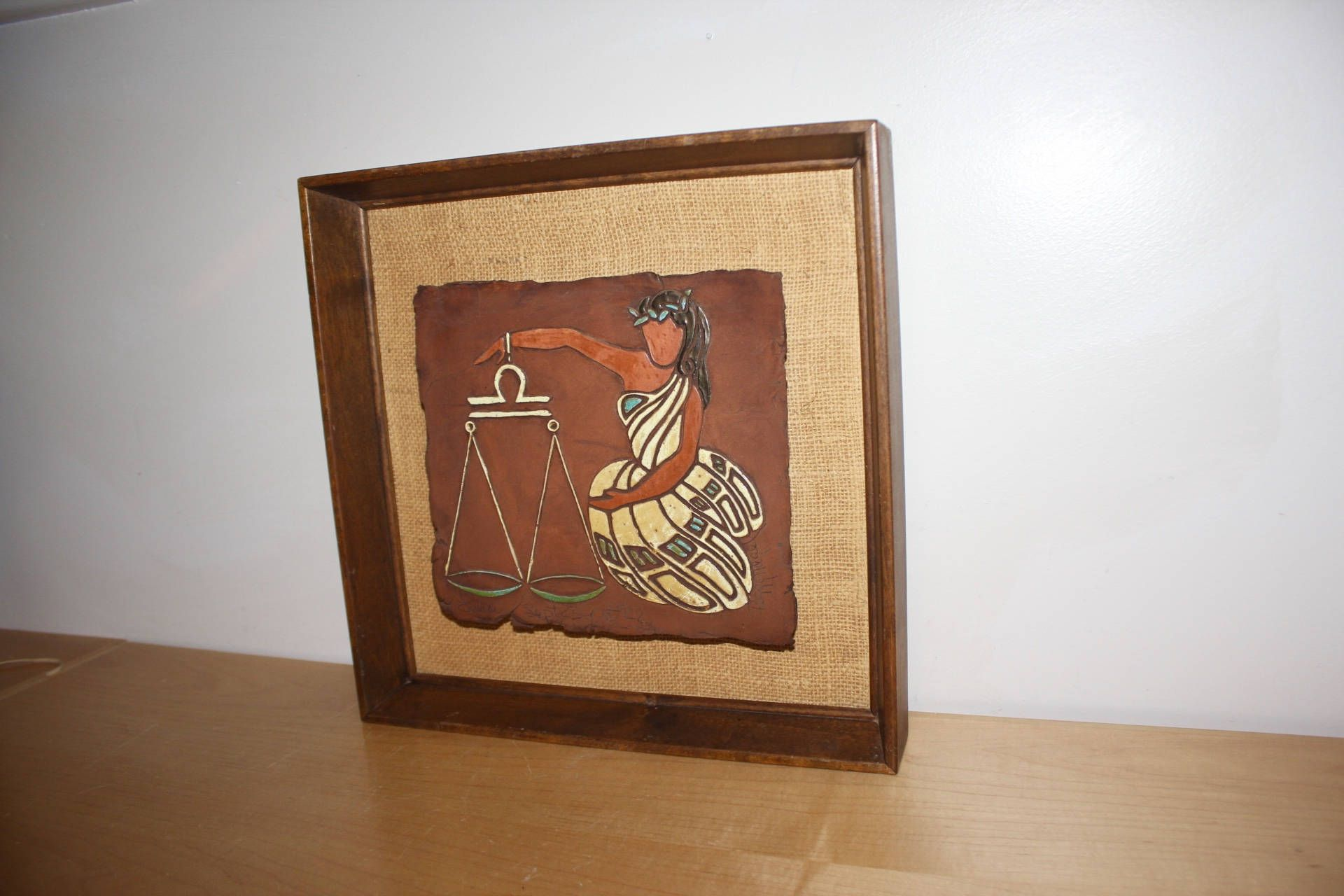 Peggy nagel libra astrological sign wall hanging picture art tile