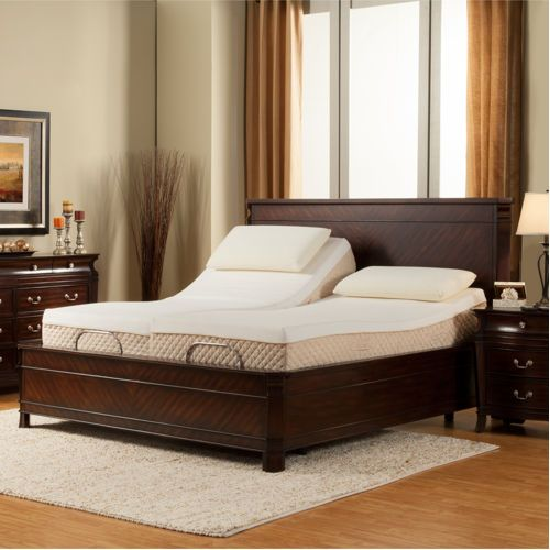sleep science black diamond 11 split king memory foam mattress with adjustable base - Split King Bed Frame