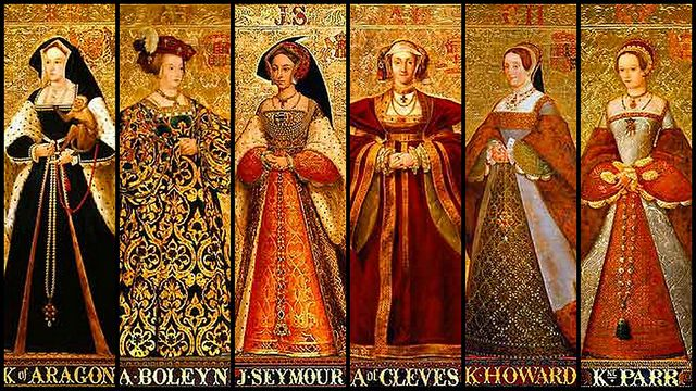 Portraits of Henry's six wives all lined up!