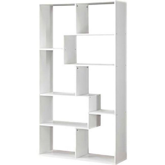 White Bookshelf 8 Shelf Bookcase Storage Wall Rack Organizer Cubby Furniture Mainstays Modern