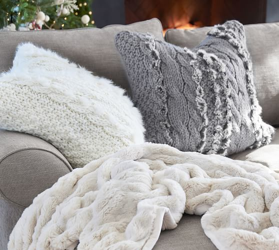 Faux Fur Cable Knit Pillow Covers In 2019 Master Bd Rm 1 Wall At A