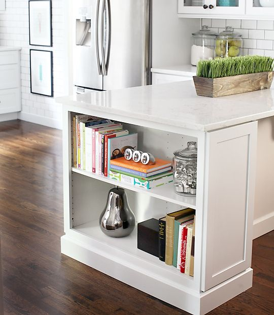 Kitchen Cabinet End Shelf: Kitchen Island Bookshelf For Cookbooks Perfect To Add On
