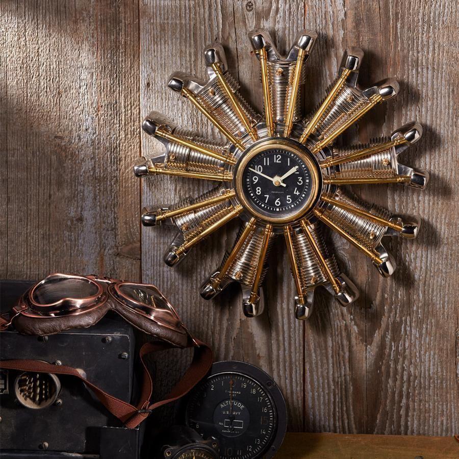 Power Plant Engine Clock Chrome Solid Brass Vintage