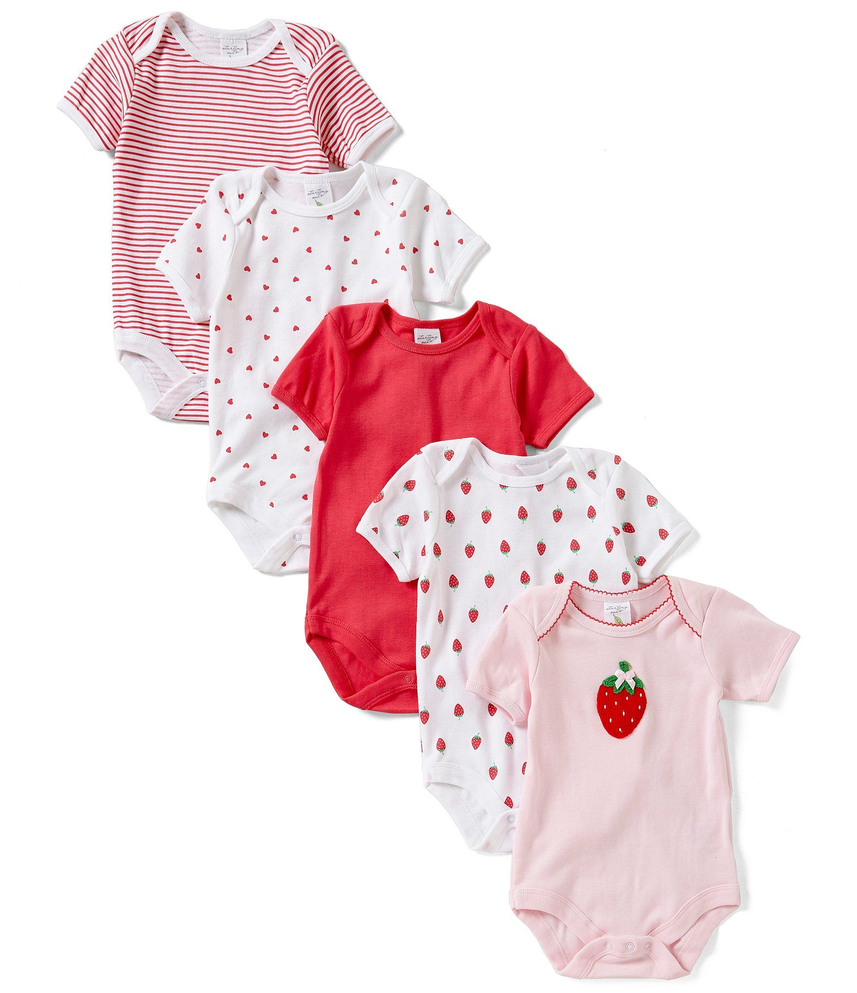 Starting Out Baby Girls Newborn 6 Months 5 Pack Strawberry Bodysuits