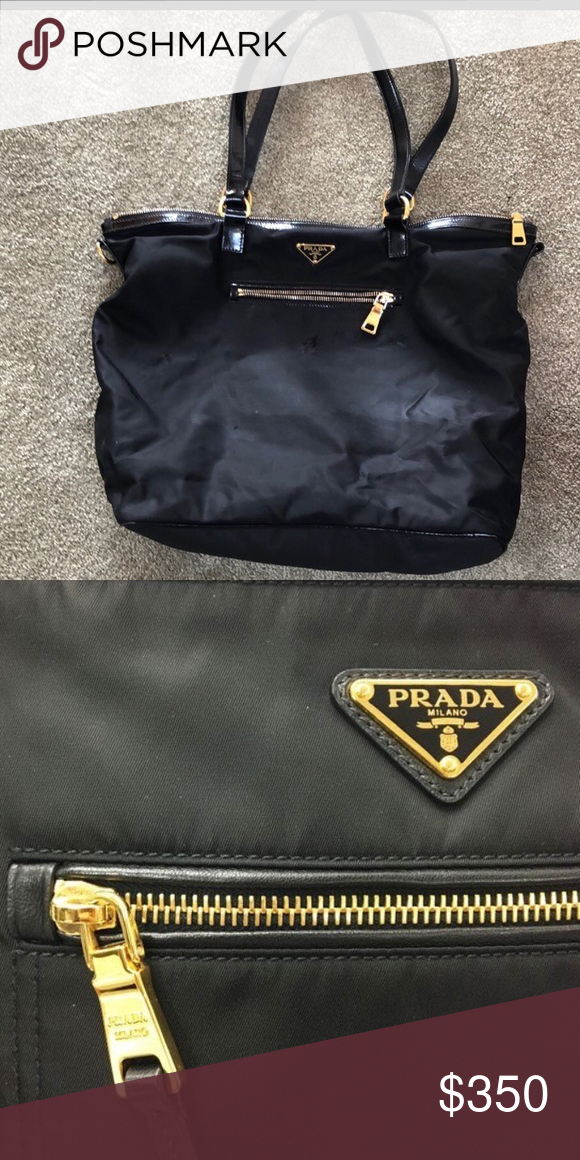 62f5da6f6a72d2 Prada Handbag🎉 Prada Tessuto Nylon & Saffiano Leather Trim Handbag- Black.  Prada Bags Shoulder Bags