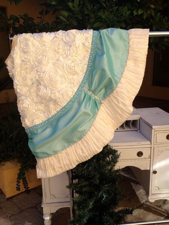 Breakfast At Tiffanys Christmas Tree Skirt    57 Diameter    Tiffany Blue and ivory Christmas Tree Skirt. A tribute to Breakfast at Tiffanys.