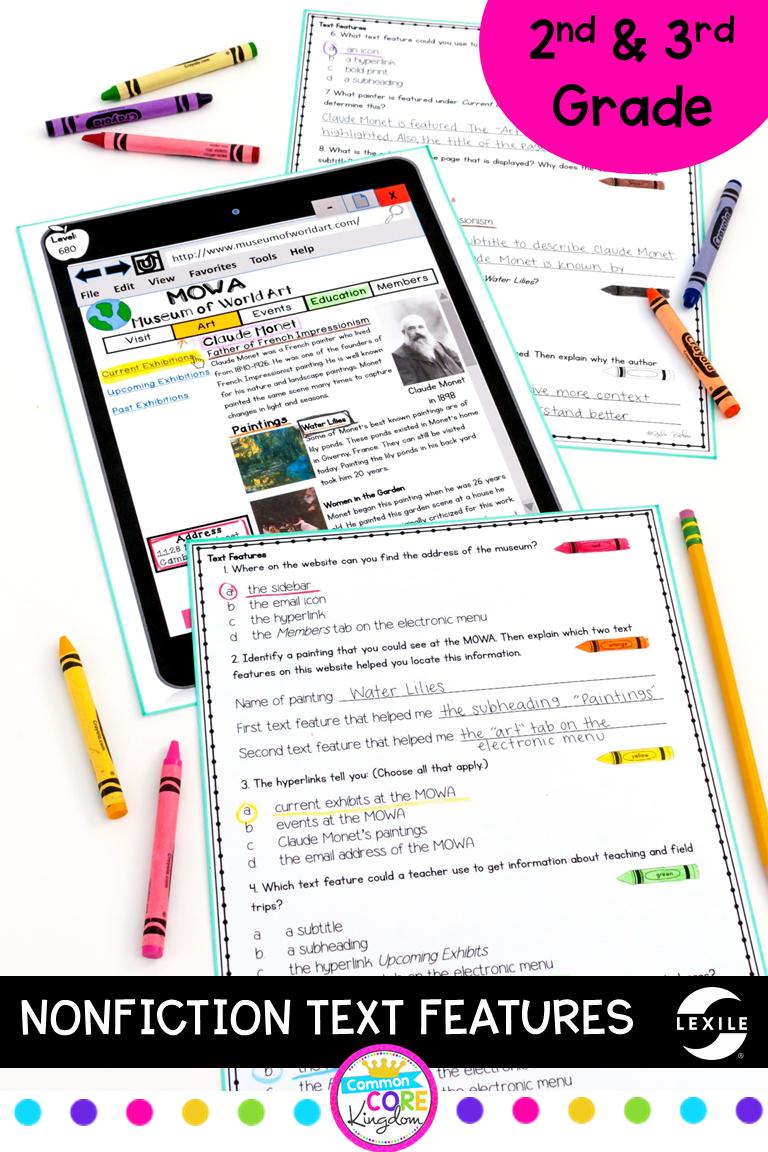 Nonfiction Text Features 2nd Grade Ri 2 5 3rd Grade Ri 3 5 Nonfiction Text Features Nonfiction Texts Text Features