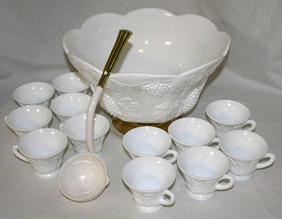 Vintage Colony Harvest White Milk Glass Punch Bowl Set Set Includes