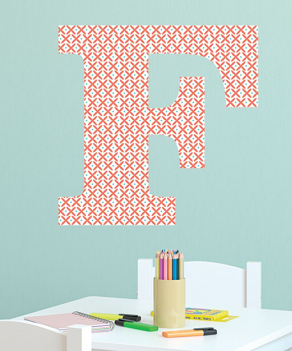 Wallquotescom By Belvedere Designs Coral Teal Windmill Monogram - Coral monogram wall decal