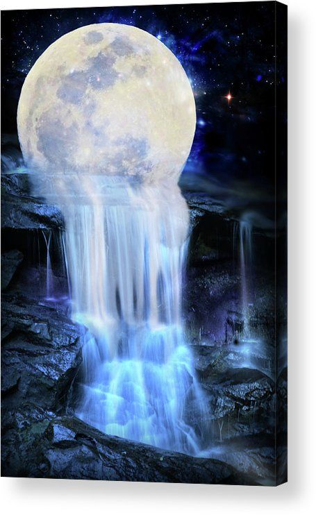 Melted moon Acrylic Print by Lilia D