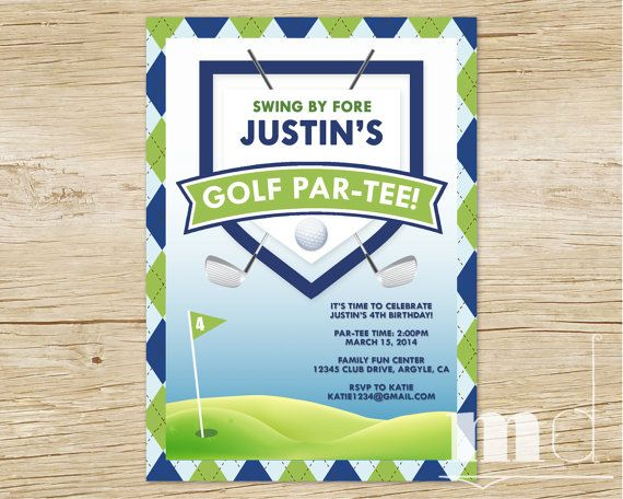 Golf Birthday Party Invitation Thank You Card