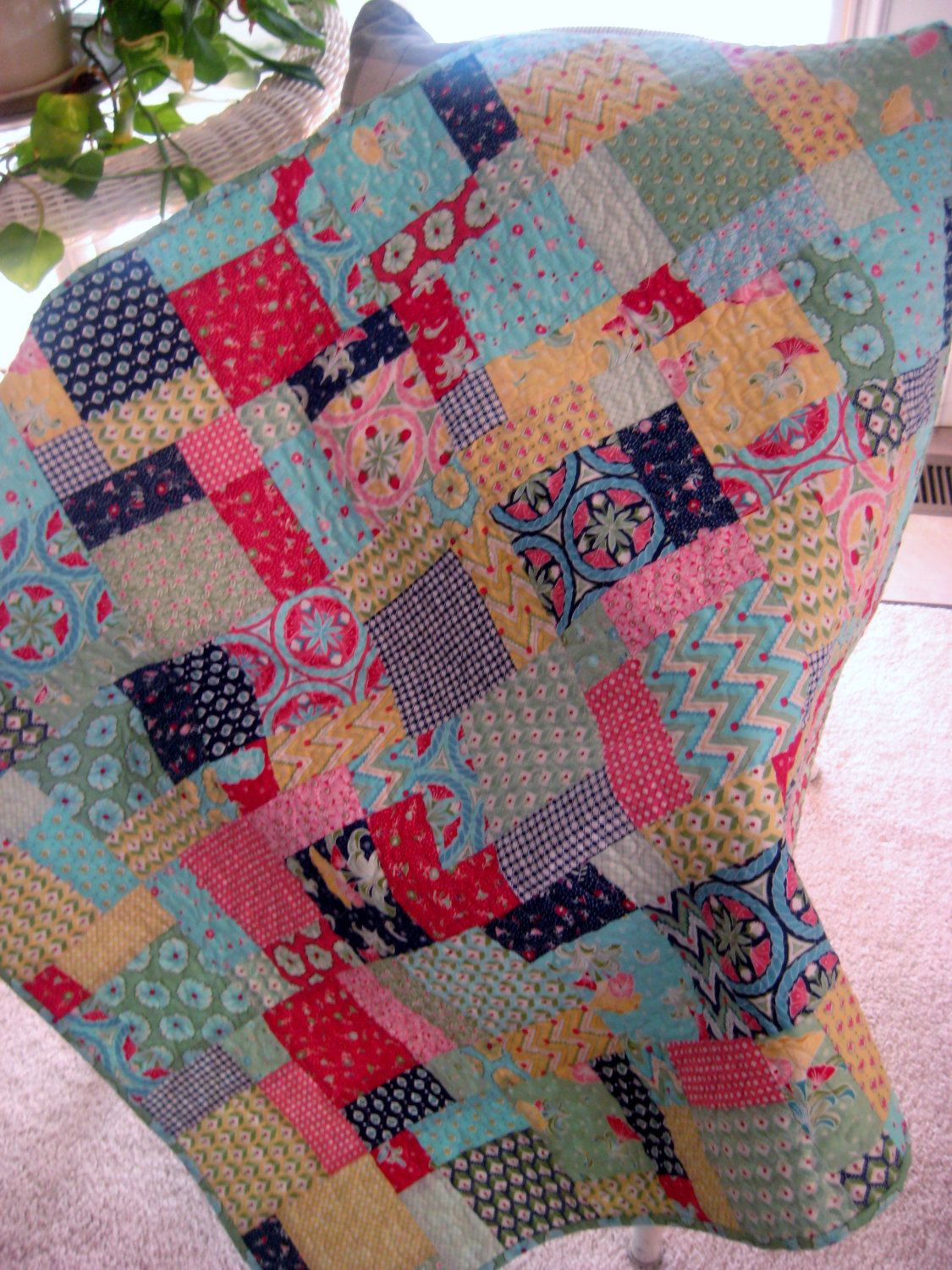 Modern Baby Quilt Quilted Blanket Patchwork Pedal by PeppersAttic