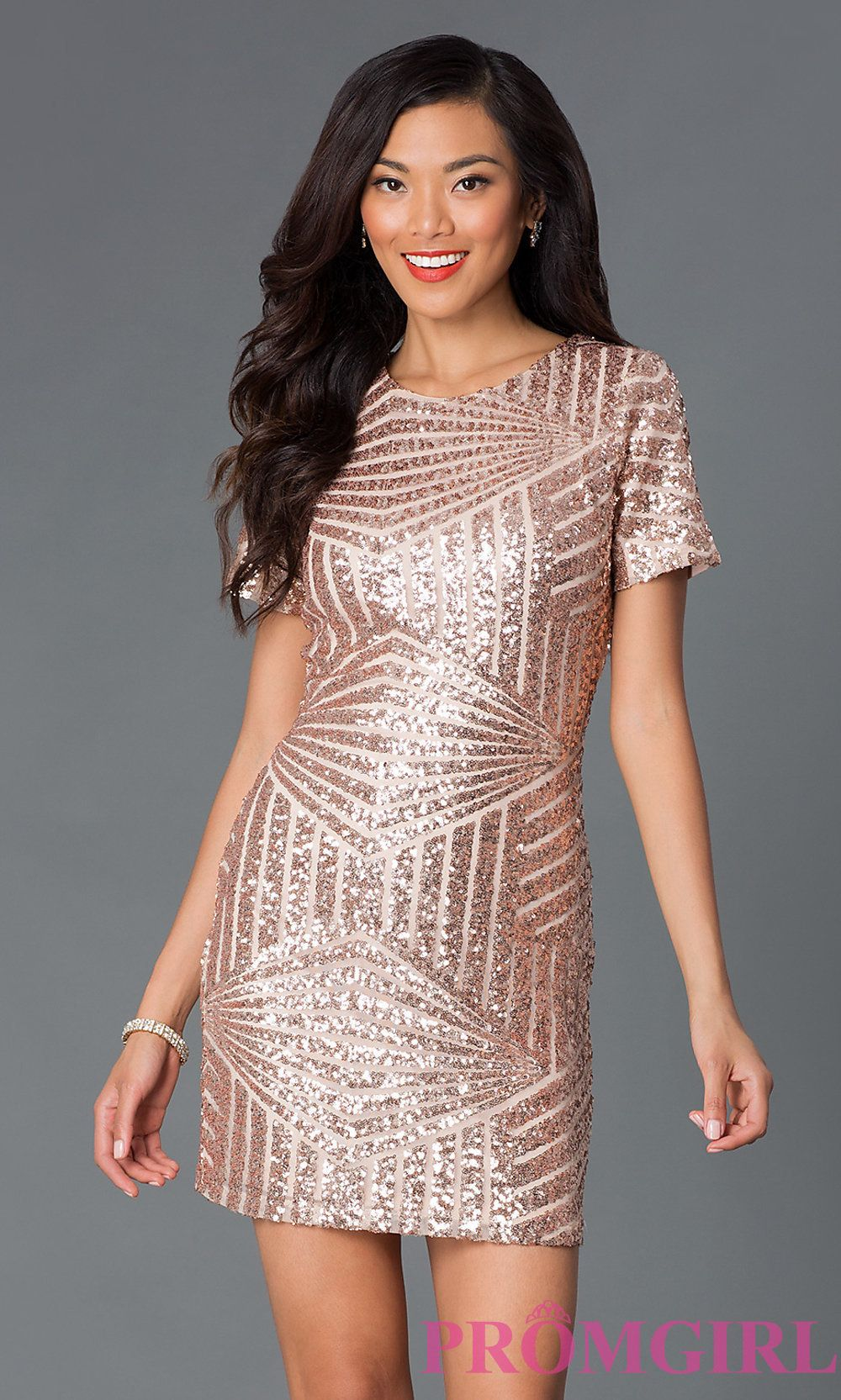 Short Sleeve Sequin Party Dress | More Sequins, Short sleeves and ...