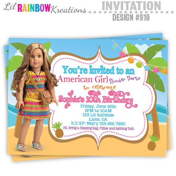 910 diy american girl doll 3 party invitation or thank you etsy