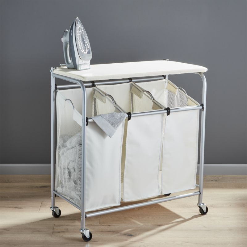 Free Shipping Shop Triple Laundry Sorter With Ironing Board