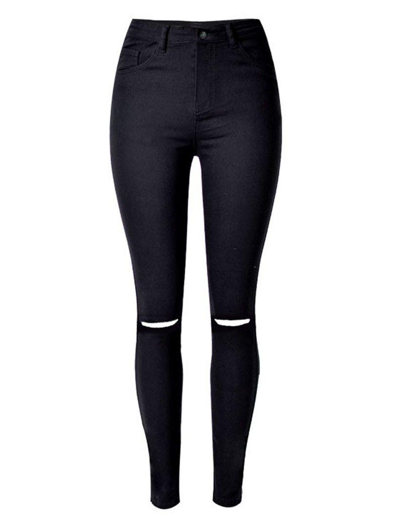 5997b2ca6f6f Black Knee Rips Detail High Waist Skinny Jeans in 2019