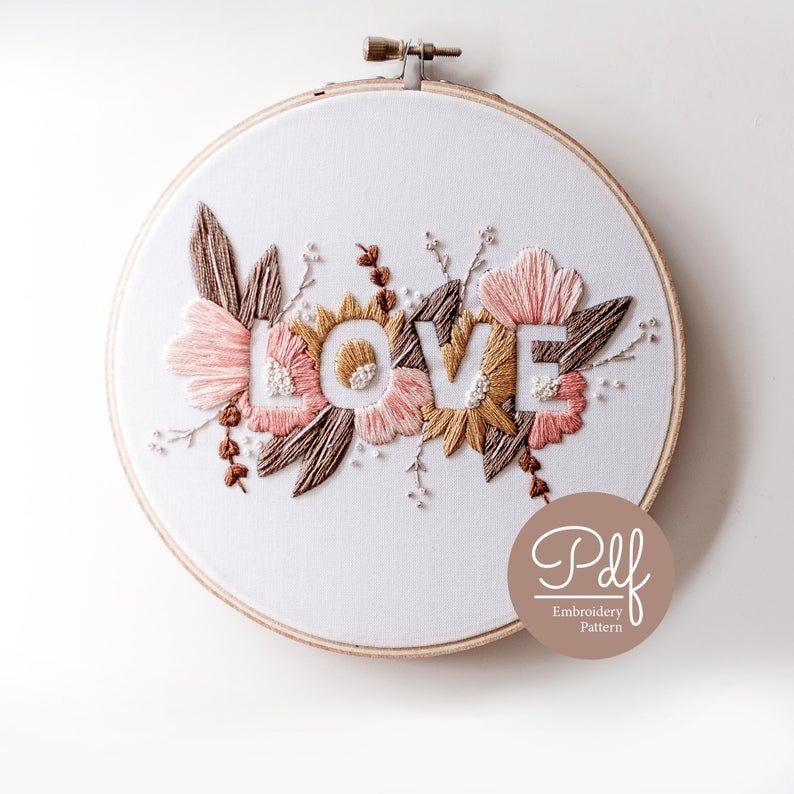 LOVE Embroidery pattern Soft Palette PDF Digital | Etsy