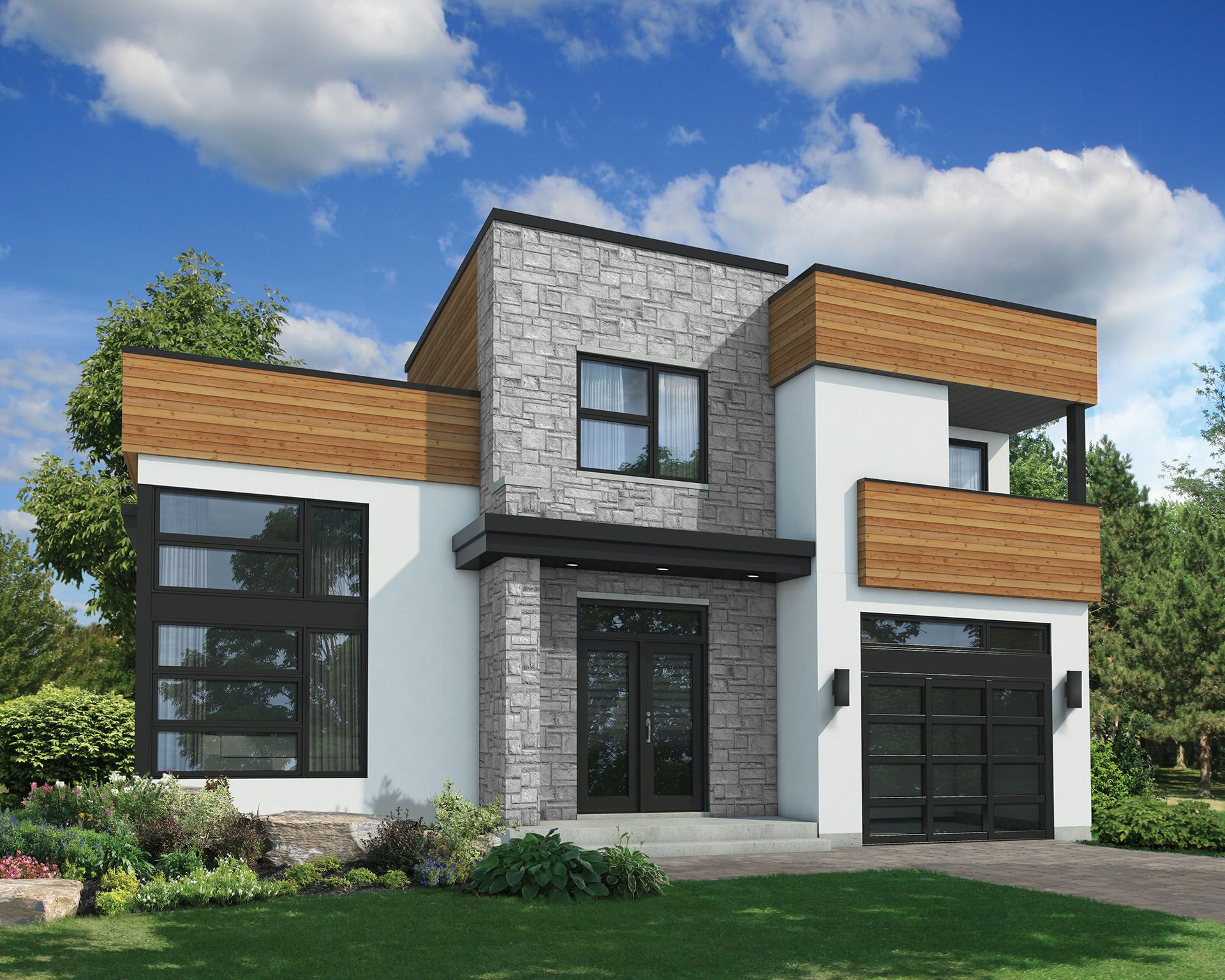 Plan 80823PM: Contemporary With Family Room Plus Living