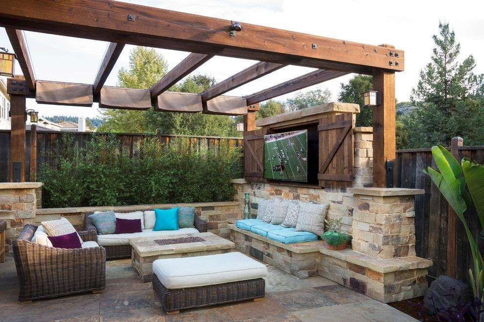 Decorating Ideas For Top Of Entertainment Center Patio Mediterranean