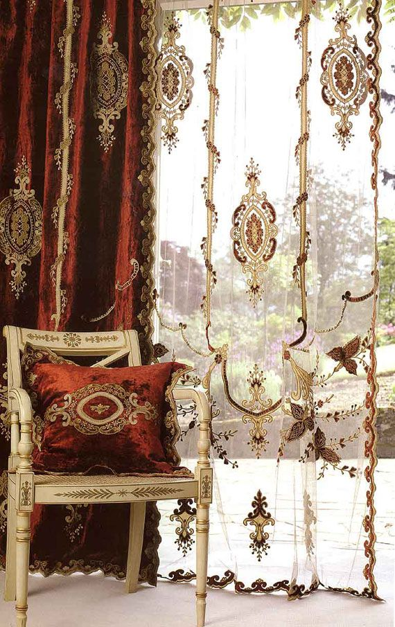 Red velvet curtains bedroom decor