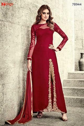 Women\'s Beautiful-Looking Velvet Red Incredible Unstitched Salwar ...