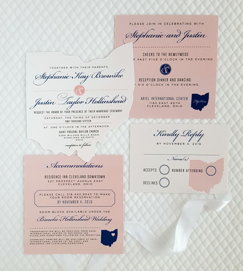 Elegant ohio cutout wedding invitation set with white blush and elegant ohio cutout wedding invitation set with white blush and navy blue monicamarmolfo Image collections