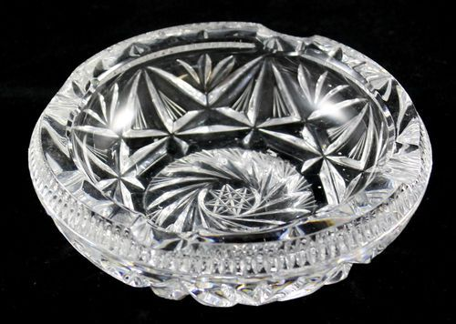 e589300c3a8 Sparkling Lead Crystal Vintage Round Ash Tray Clear Cut Glass