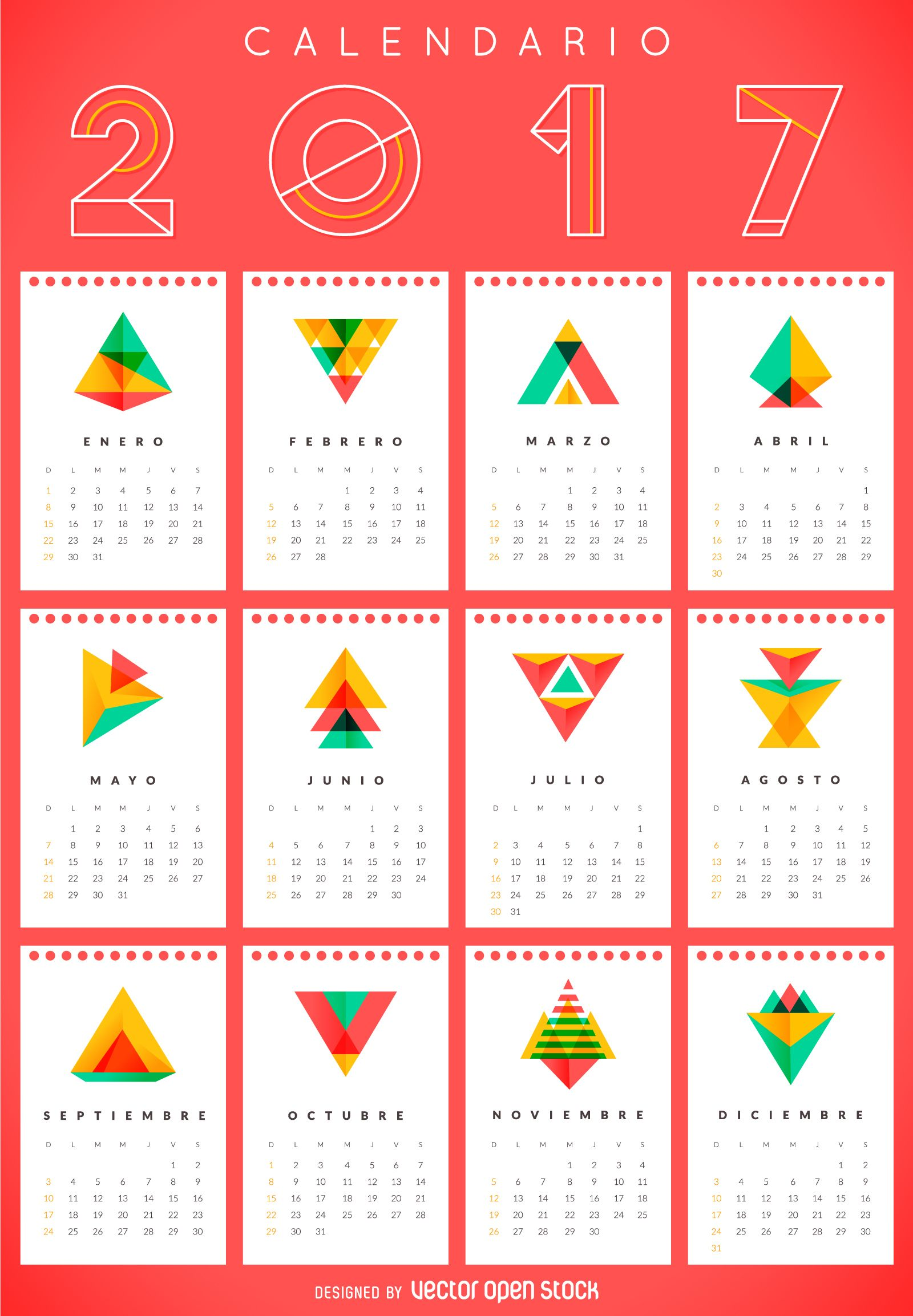 2017 geometric calendar in Spanish … | Pinteres…