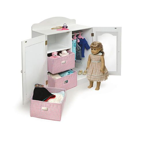 Gentil Badger Basket Mirrored Doll Armoire With Hangers And Baskets (fits American  Girl Dolls). For MOMOu0027s Doll Storage