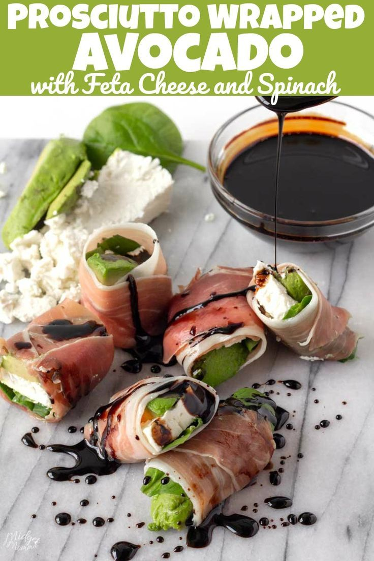 Prosciutto Wrapped Avocado with Feta Cheese and Spinach #ketodesserts