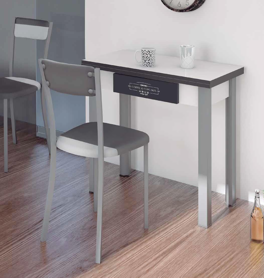 Mesa cocina de 80 x 40 tipo libro con cajón decorado | DeCo | Mesas ...