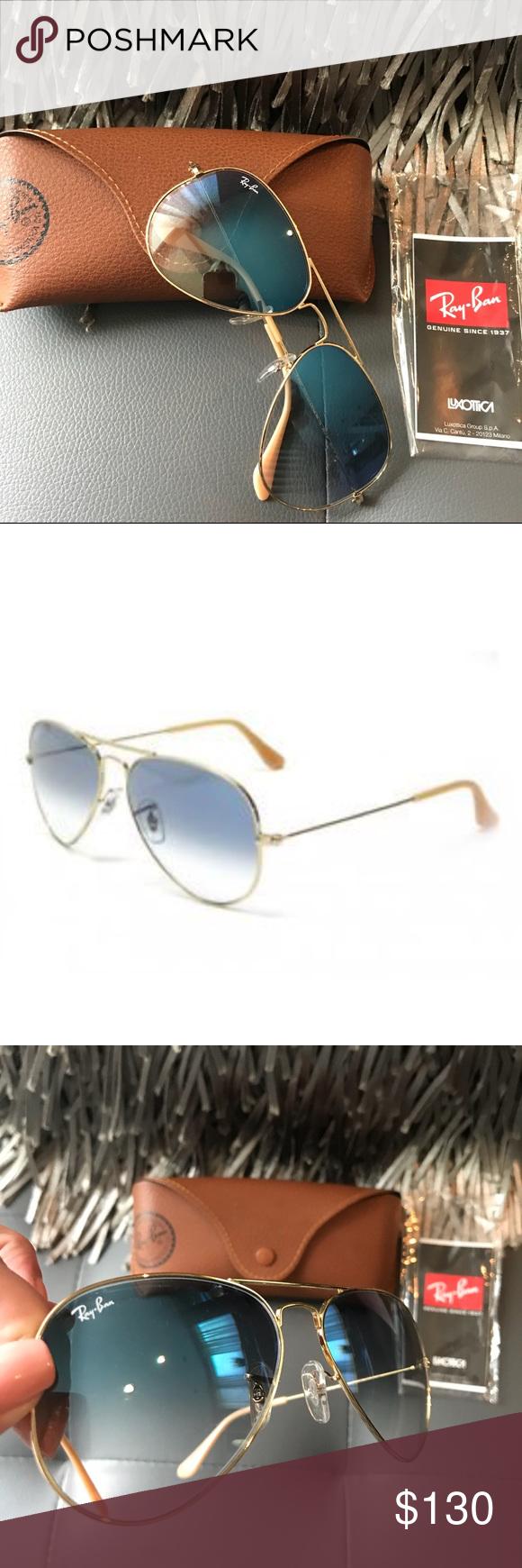 c9da1417b2 Ray-Ban- Light Blue Gradient   Gold Metal 100% UV Gorgeous light blue  gradient and gold metal