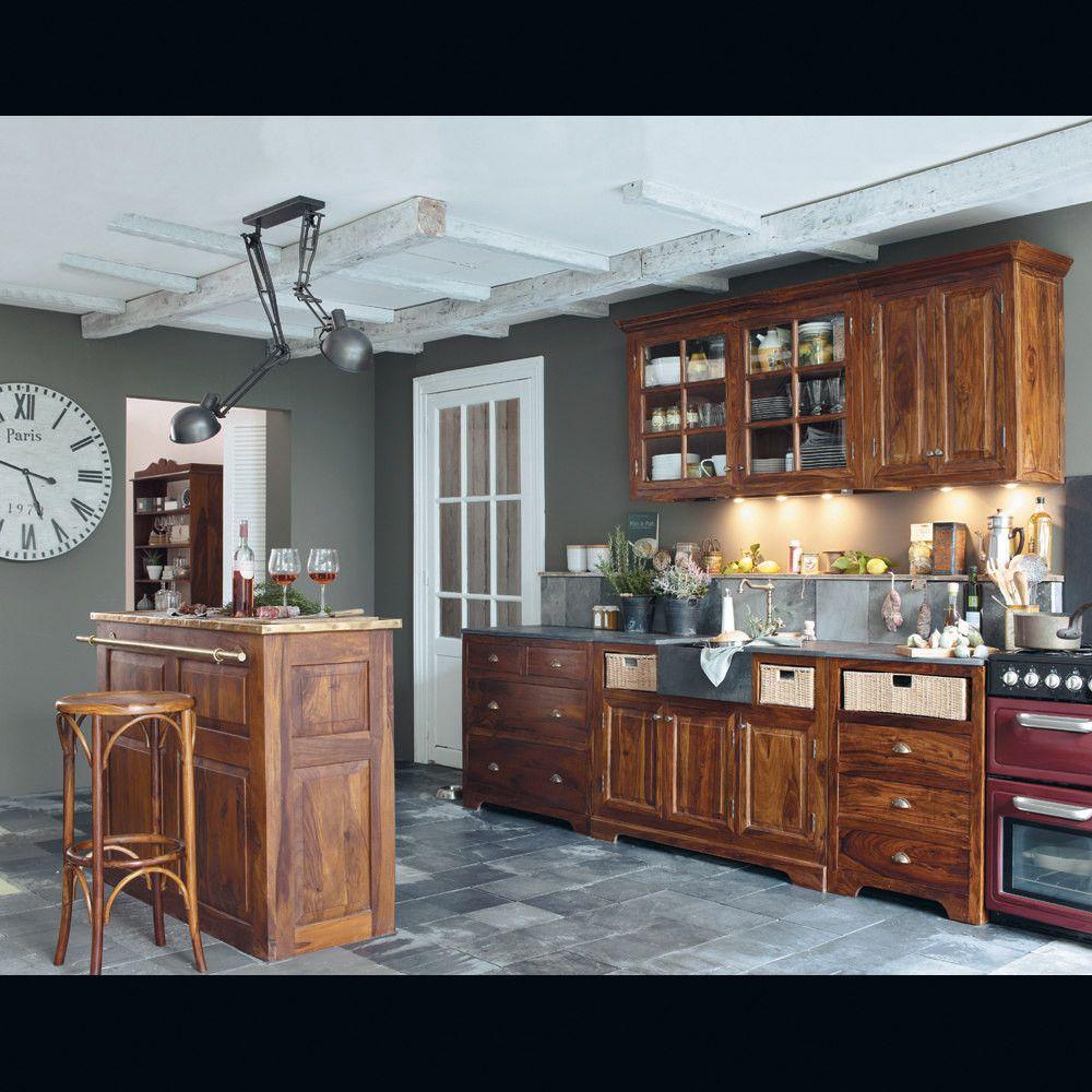Meuble de bar en bois de sheesham massif L 132 cm | Salons