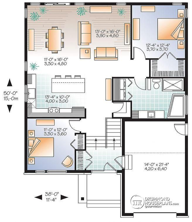Modernist A 20 X 20 Modern Style Two Car Garage: 1st Level Modern Rustic House Plan, Split Entry, Great