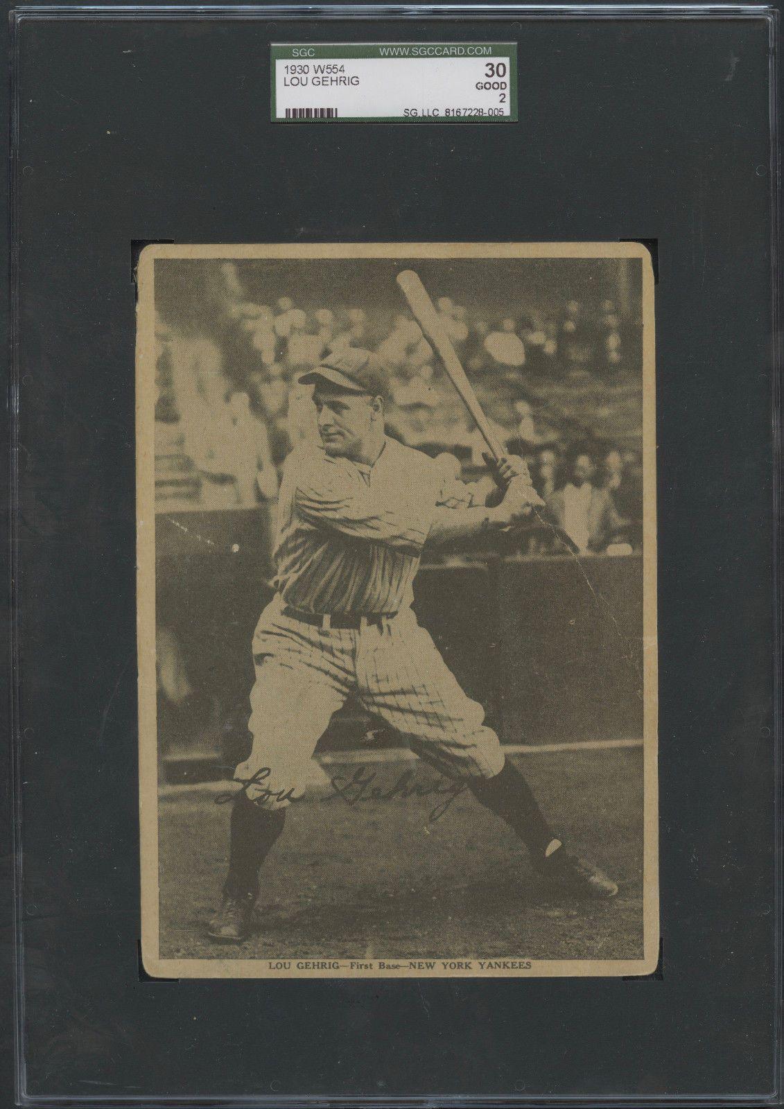 1930 W554 Lou Gehrig SGC 30 Good 2 New York Yankees Hall