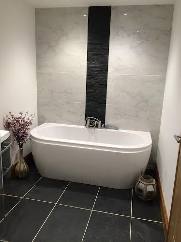 slate feature wall with marble porcelain tile with 20404
