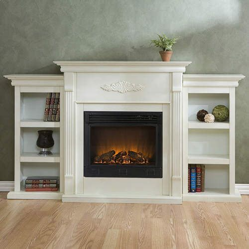 White Electric Fireplace w Bookshelves Remote | eBay - White Electric Fireplace W Bookshelves Remote EBay House