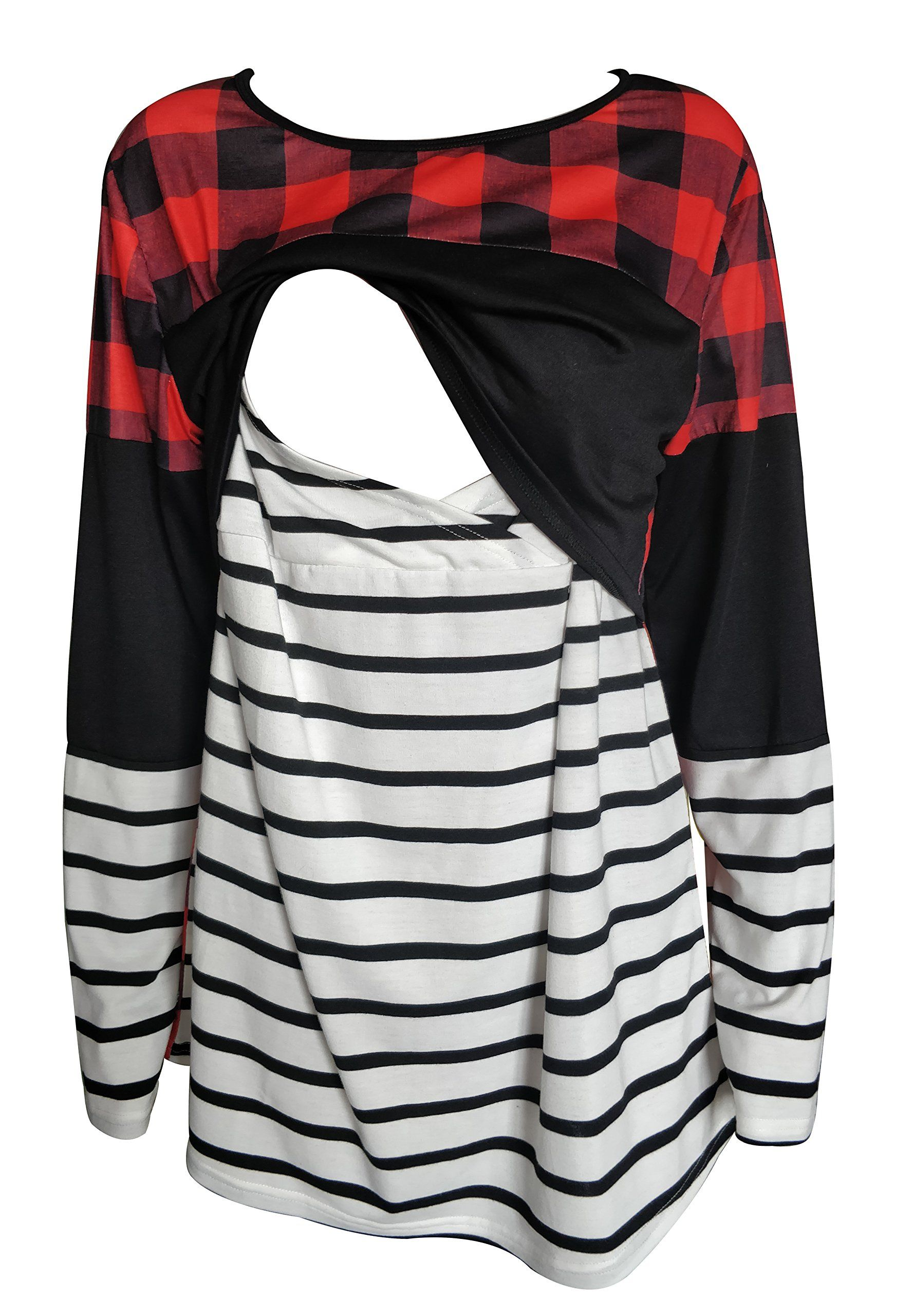 4e00ed43fb476 Maternity Fashion - Breastfeeding Shirt Striped Patchwork Long Sleeve  Maternity Breastfeeding and Nursing Tops M Red *** Information could be  discovered by ...
